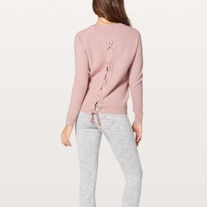 Lululemon tied to you sweater Misty pink size 6